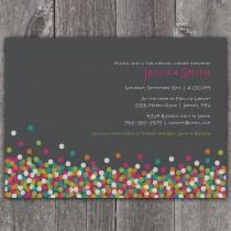 wedding photo - Confetti Shower - Custom Bridal Shower Invitation Bachelorette Party