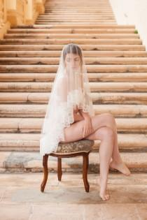 wedding photo - Roseline French Lace Veil in Ivory or Off-white