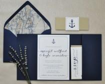 wedding photo - Nautical Wedding Invitation - Pocketfold Invitation - Nautical Invitation - Navy and Gold Wedding Invite