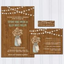 wedding photo - Babys Breath Wedding Invitations, Dark Barnwood Invite Set, String Light Wedding Invitation, Ball Jar Budget Wedding, Mason Jar, SAMPLE