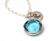 wedding photo - Aquamarine Necklace Stone, Aqua Blue Necklace, Initial Necklace, Personalized Necklace, Gift, Bridesmaid Gift, Flower Girl, March Birthstone