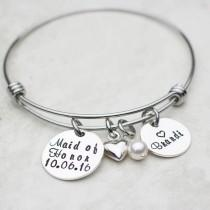wedding photo - Maid Of Honor Personalized Expandable Bangle Bracelet