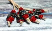 wedding photo - Lampwork beads handmade Beads supplies jewelry Beads for jewelry making Set beads Beads SRA Beads bright red turquoise coffee brown silver.