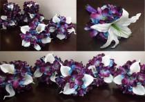 wedding photo - Bridesmaids, maid of honor or toss bouquet with white Casablanca lily or real touch calla lilies, blue galaxy orchids, choose your orchid
