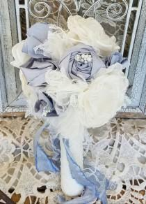 wedding photo - Dusty Blue Bridal bouquet , alternative bouquet, wedding flowers, brooch bouquet, Silk Flowers, Ready to ship bouquet,
