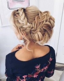 wedding photo - Braided Messy Updo Wedding Hairstyle