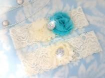 wedding photo - Aqua and ivory Wedding Garter Set - Bridal Garter - Ivory Lace Garter - crystal garter set - blue Wedding Garter - aqua and ivory - crystal