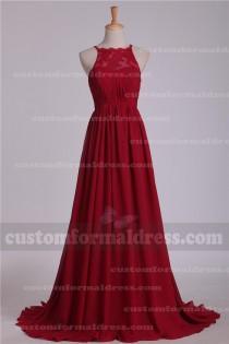 wedding photo - Burgundy Lace Chiffon Bridesmaid Dresses Halter Neck Evening Dresses BRXF84