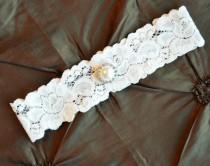 wedding photo - Ivory Wedding Garter, Ivory Bridal Garter, Ivory Lace Garter, Toss Garter, Pearl Wedding Garter, Crystal Wedding Garter
