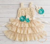 wedding photo - Flower girl dress, rustic flower girl dress,country lace flower girl dress,Easter dress, 1st birthday, Junior bridesmaid, shabby chic dress.