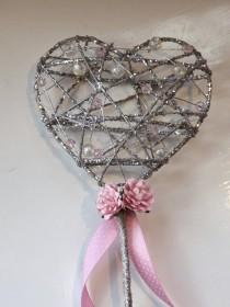 wedding photo - Flower girl wand, sparkle heart, any colour