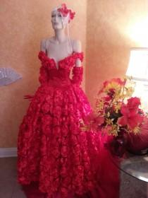 wedding photo - Scarlet Rose Goddess Middle Eastern Inspired Off The Shoulder Bridal Wedding Formal Ball Gown