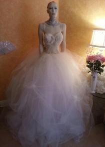 wedding photo - Ivory Goddess Wedding Ball Gown With Beaded Sheer Corset Tulle Skirt Pearl Embellished Pickups Victorian Party