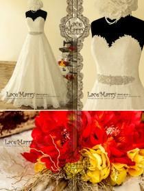wedding photo - Gorgeous Strapless Wedding Dress from Ivory Alencon Lace, A Line Wedding Dresses, Wedding Dress with Beaded Sash, Strapless Wedding Dresses