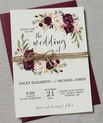 wedding photo - Marsala Wedding Invitation printable Suite, Burgundy Pink,  Bohemian Wedding Invite Set, Rustic Floral Wedding Invitation, Boho Chic wedding