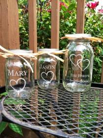 wedding photo - 3 Piece Personalized Mason Jar Sand Ceremony set  Wedding Ceremony  Names 1 Large Jar 2 small Jars with hearts