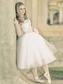 wedding photo - Strapless Ballerina Style Tulle Tea Length Wedding Dress