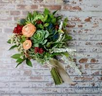 wedding photo - Wedding Bouquet, Artificial Bouquet, Silk Flower Bouquet, Succulent Bouquet, Boho Bouquet, Bridal Bouquet, Colorful Bouquet, Succulents