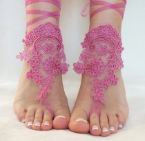 wedding photo -  Fuchsia Purple lace barefoot sandals, FREE SHIP, beach wedding barefoot sandals, belly dance, lace shoes, bridesmaid gift, lilac, pink