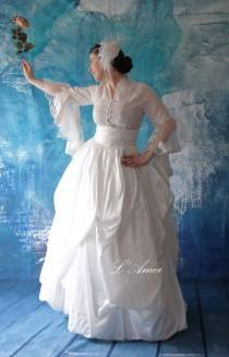 wedding photo - Skirt Only! Hand Made White Rustic Vintage Taffeta  Wedding Dream Ball Gown Floor Length Skirt
