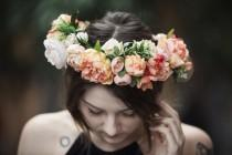 wedding photo - Peach Silk Flower Hair Crown, with Peonies, Roses, Ranunculus, Cabbage Roses, Dried Hill Flowers, Cherry Blossoms and Greenery