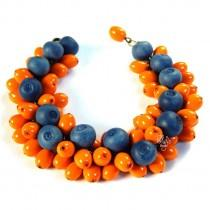 wedding photo - Cute summer berry charm bracelet - Handmade woodland bracelet - Gift for her - eco rustic wedding - orange Jewelry - sea buckthorn blueberry