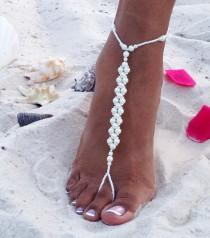 wedding photo - Pearl Barefoot Sandals, Bridal Barefoot Sandals, Beach Wedding Barefoot Sandal, Bridal Foot Jewelry, Footless Sandal