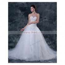 wedding photo - A-line Sweetheart Sleeveless Tulle White Wedding Dress With Appliques BUKCH217 In Canada Wedding Dress Prices - dressosity.com
