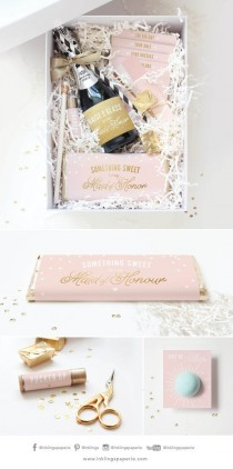 wedding photo - Be My Bridesmaid Box / Be My Maid Of Honor Box // Printable Collection For Champagne Bottle Wrap, Straw Flags, Chocolate Bar Wrap, Lip Balm