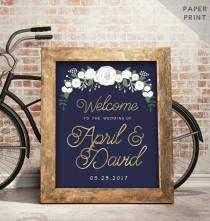 wedding photo - Navy and Gold Welcome Sign - Navy and Gold Wedding Sign - Wedding Reception Signage - Navy and Gold theme Reception Sign