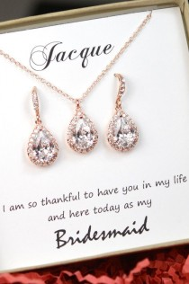 wedding photo - Personalized Bridesmaid Gift, Rose Gold Bridesmaid Earrings Necklace Bracelet, Bridesmaid Jewelry Set, Mother Of Bride Gift,Bridesmaid Gifts
