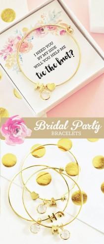 wedding photo - Will You Be My Bridesmaid Gift Bracelet Bridesmaid Proposal Gift Box Bridal Party Proposal (EB3144) Initial Bracelet Bangle