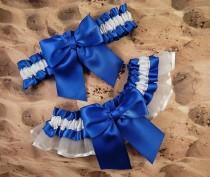wedding photo - Royal Blue Satin White Satin Organza Wedding Bridal Garter Toss Set