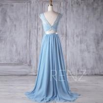 wedding photo - 2017 Light Blue Chiffon Bridesmaid Dress, Lace Illusion Wedding Dress, Scoop Neck Prom Dress, A Line Formal Dress Floor Length (H369)