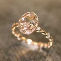 wedding photo - Floral Morganite Engagement Ring In 14k Rose Gold Diamond Pebble Band 8x6mm Oval Pinkish Peach Morganite Wedding Ring (Bridal Set Available)