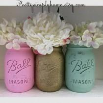 wedding photo - Glitter Mason Jar Set, Wedding Centerpieces, Shower Centerpieces, Gold, Mint and Pink Jars, Glitter Jars, Flower Vases, Center Pieces, Decor