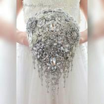 wedding photo - BROOCH BOUQUET in teardrop cascading waterfall bridal style. Jeweled with silver crystals and brooches