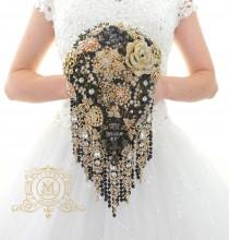 "wedding photo - Ready to ship 6"" Rose gold and black BROOCH BOUQUET in waterfall cascading teardrop gold  Great Gatsby style, jeweled with rose design"