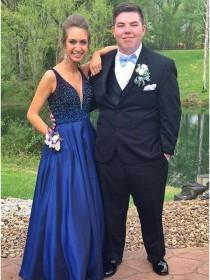wedding photo -  A-Line V-Neck Floor-Length Navy Blue Prom Dress with Beading