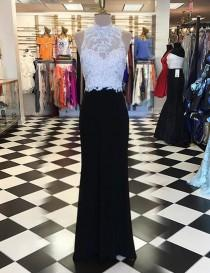 wedding photo -  Stunning High Neck Long Sheath Black Prom Dress with Beading Appliques Open Back