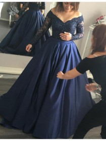 wedding photo -  Buy Stylish Navy Blue Off the Shoulder Long Sleeves Beading Long Prom Dress Navy Blue, from for $464.99 only in Main Website.