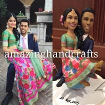 wedding photo - custom wedding cake toppers with Lehenga Saree Indian wedding souvenir
