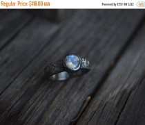 wedding photo - Sale Rainbow Moonstone Ring, Moonstone, Sterling Silver, Rustic Moonstone, Engagement
