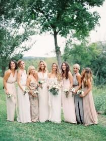 wedding photo - Glam Neutral Bridesmaids Dresses