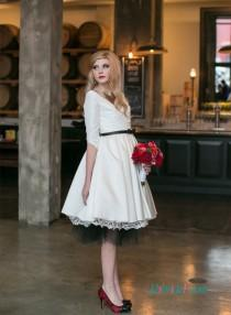 wedding photo - Lovely short white bridal wedding dress with sleeves