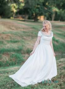 wedding photo - Garden casual Taffeta a line wedding dress with sleeves