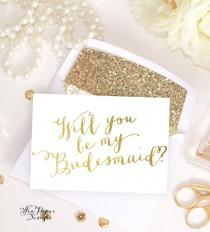 wedding photo - Card Set: Will you be my Bridesmaid, Maid of Honor card, bridal party proposals White & Gold Foil, invitation instant download DIY Printable
