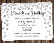 wedding photo - Bridal Shower Invitations, Silver, Wedding, Confetti, Sparkle, Classic, Champagne, 10 Printed Invites, FREE Shipping, Brunch & Bubbly, Grey