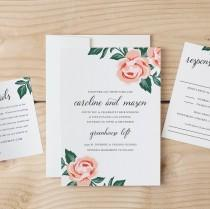wedding photo - DIY Wedding Invitation Template - Colorful Floral - Word or Pages MAC or PC - Change the colors & text -