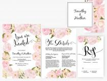 wedding photo - DIY Word Template garden Wedding Invitation Stationary Set